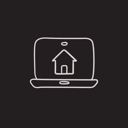 Smart house technology vector sketch icon isolated on background. Hand drawn Smart house technology icon. Smart house technology sketch icon for infographic, website or app.