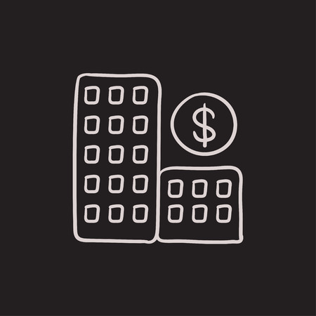 condominium: Condominium with dollar symbol vector sketch icon isolated on background. Hand drawn Condominium with dollar symbol icon. Condominium with dollar symbol sketch icon for infographic, website or app.
