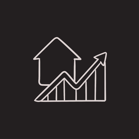 Growth of real estate prices vector sketch icon isolated on background. Hand drawn Growth of real estate prices icon. Growth of real estate prices sketch icon for infographic, website or app. Vektorové ilustrace