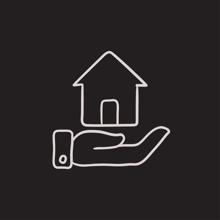 belay: House insurance vector sketch icon isolated on background. Hand drawn House insurance icon. House insurance sketch icon for infographic, website or app.