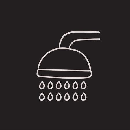 シャワー ベクター スケッチ アイコンを背景に分離します。手描きシャワー アイコン。インフォ グラフィック、web サイトまたはアプリケーション