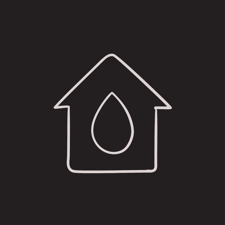 constraction: House with water drop vector sketch icon isolated on background. Hand drawn House with water drop icon. House with water drop sketch icon for infographic, website or app.