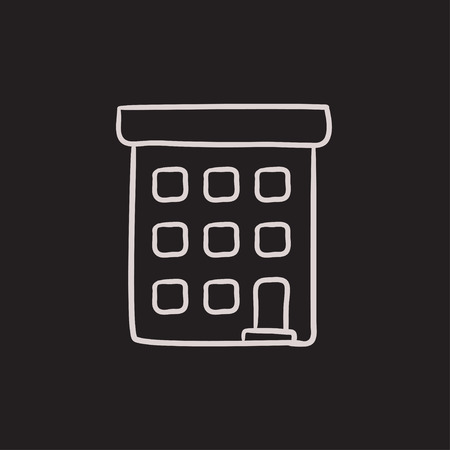 condominium: Condominium building vector sketch icon isolated on background. Hand drawn Condominium building icon. Condominium building sketch icon for infographic, website or app.