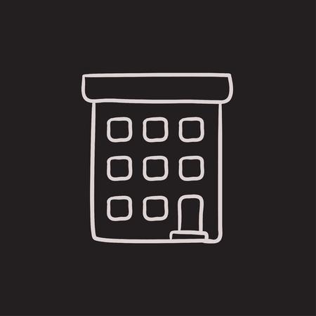 condominium: Condominium building vector sketch icon isolated on background. Hand drawn Condominium building icon. Condominium building sketch icon for infographic, website or app.