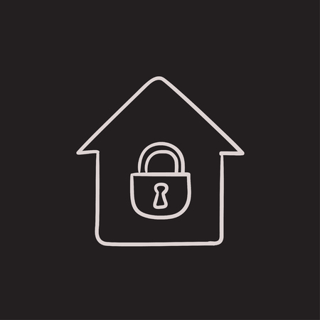 closed lock: House with closed lock vector sketch icon isolated on background. Hand drawn House with closed lock icon. House with closed lock sketch icon for infographic, website or app.