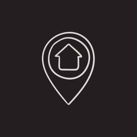 inside house: Pointer with house inside vector sketch icon isolated on background. Hand drawn Pointer with house inside icon. Pointer with house inside sketch icon for infographic, website or app. Illustration