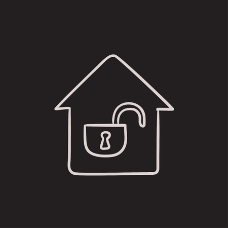 safeness: House with open lock vector sketch icon isolated on background. Hand drawn House with open lock icon. House with open lock sketch icon for infographic, website or app. Illustration