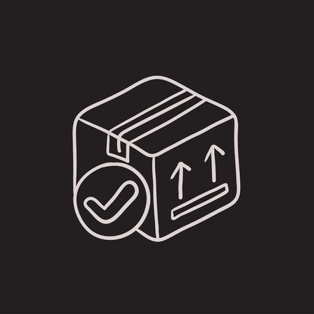 Caja de cartón de paquete de dibujo icono del vector aislado en el fondo. Dibujado a mano icono de la caja de cartón del paquete. Cartón dibujo icono de la caja de embalaje para infografía, sitio web o aplicación. Foto de archivo - 63447251