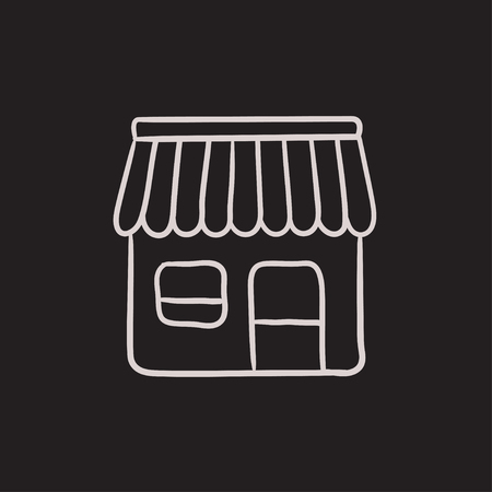 awnings: Shop vector sketch icon isolated on background. Hand drawn Shop icon. Shop sketch icon for infographic, website or app.