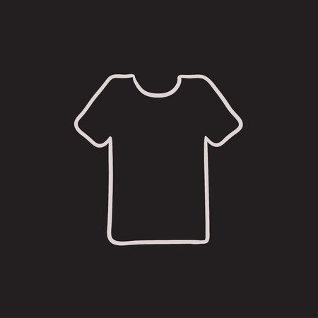 hangers: T-shirt vector sketch icon isolated on background. Hand drawn T-shirt icon. T-shirt sketch icon for infographic, website or app.