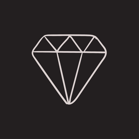 karat: Diamond vector sketch icon isolated on background. Hand drawn Diamond icon. Diamond sketch icon for infographic, website or app.