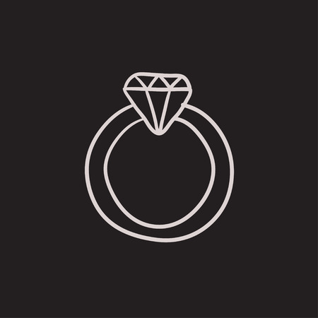 Diamond ring vector sketch icon isolated on background. Hand drawn Diamond ring icon. Diamond ring sketch icon for infographic, website or app.
