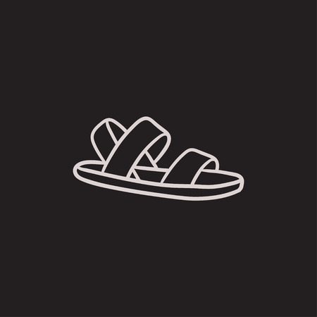 sandal: Sandal vector sketch icon isolated on background. Hand drawn Sandal icon. Sandal sketch icon for infographic, website or app.