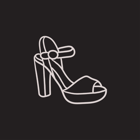 High-heeled sandal vector sketch icon isolated on background. Hand drawn High-heeled sandal icon. High-heeled sandal sketch icon for infographic, website or app. Illustration