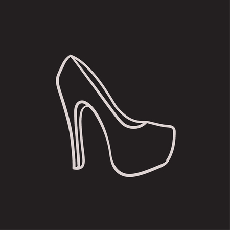 High heel shoe vector sketch icon isolated on background. Hand drawn High heel shoe icon. High heel shoe sketch icon for infographic, website or app. Illustration
