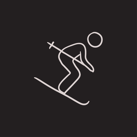downhill skiing: Downhill skiing vector sketch icon isolated on background. Hand drawn Downhill skiing icon. Downhill skiing sketch icon for infographic, website or app.