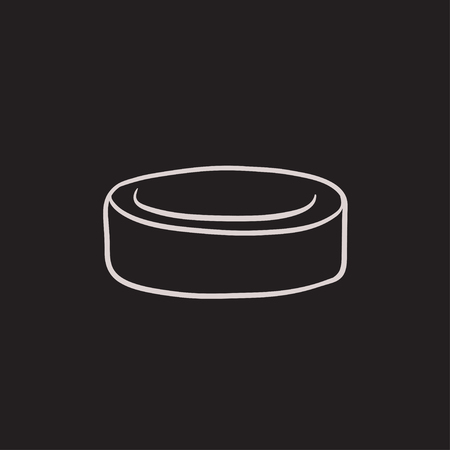 icehockey: Hockey puck vector sketch icon isolated on background. Hand drawn Hockey puck icon. Hockey puck sketch icon for infographic, website or app.