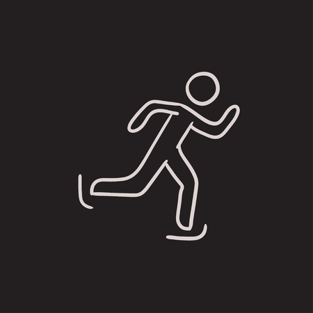 ice slide: Speed skating vector sketch icon isolated on background. Hand drawn Speed skating icon. Speed skating sketch icon for infographic, website or app.