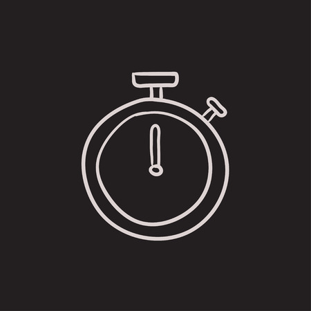 Stopwatch vector sketch icon isolated on background. Hand drawn Stopwatch icon. Stopwatch sketch icon for infographic, website or app. 向量圖像