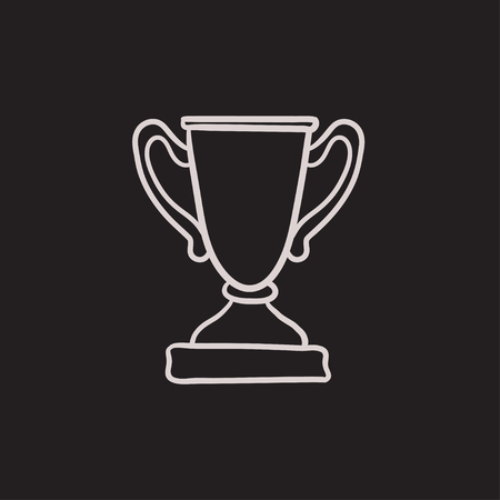 Trophy vector sketch icon isolated on background. Hand drawn Trophy icon. Trophy sketch icon for infographic, website or app. Illustration