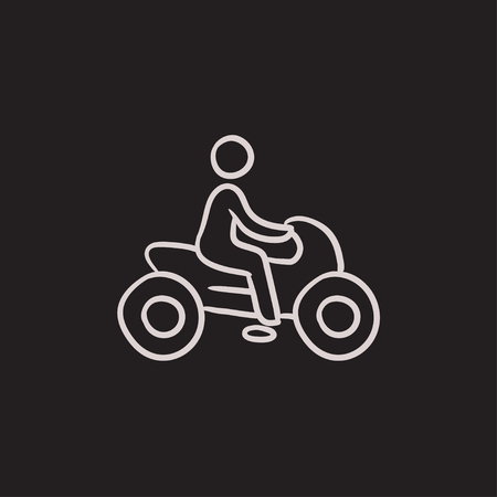 Man riding motorcycle vector sketch icon isolated on background. Hand drawn Man riding motorcycle icon. Man riding motorcycle sketch icon for infographic, website or app. 向量圖像
