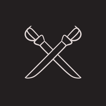 longsword: Crossed saber vector sketch icon isolated on background. Hand drawn Crossed saber icon. Crossed saber sketch icon for infographic, website or app.