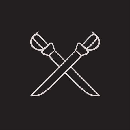 Traversé sabre vecteur croquis icône isolé sur fond. Hand drawn Crossed icône de sabre. Traversé icône sabre esquisse pour infographie, site Web ou application.