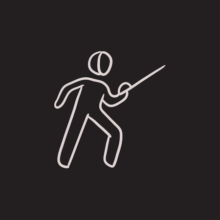 esgrima: Fencing vector sketch icon isolated on background. Hand drawn Fencing icon. Fencing sketch icon for infographic, website or app.