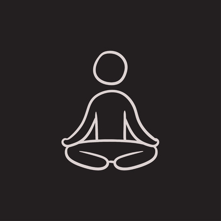 Man meditating in lotus pose vector sketch icon isolated on background. Hand drawn Man meditating in lotus pose icon. Man meditating in lotus pose sketch icon for infographic, website or app.