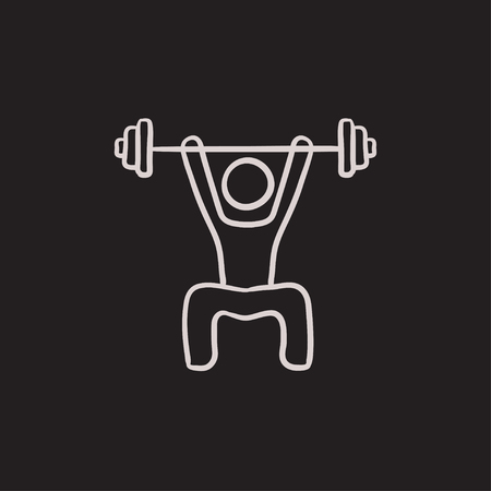 Man exercising with barbell vector sketch icon isolated on background. Hand drawn Man exercising with barbell icon. Man exercising with barbell sketch icon for infographic, website or app. Illustration