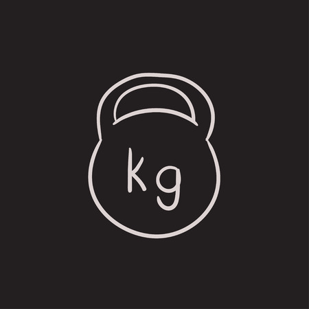 minimal: Kettlebell vector sketch icon isolated on background. Hand drawn Kettlebell icon. Kettlebell sketch icon for infographic, website or app. Illustration