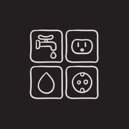 Utilities signs electricity and water vector sketch icon isolated on background. Hand drawn Electricity and water signs icon. Electricity and water signs sketch icon for infographic, website or app. Stock Illustratie