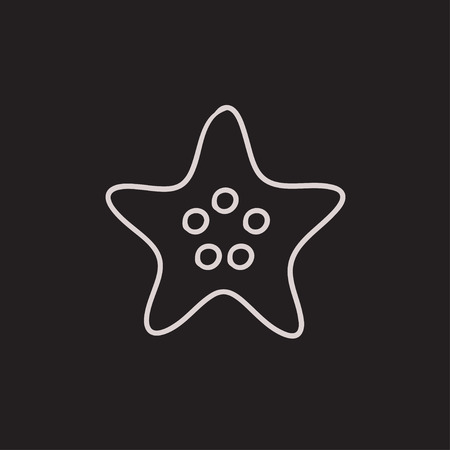 finger fish: Starfish vector sketch icon isolated on background. Hand drawn Starfish icon. Starfish sketch icon for infographic, website or app.