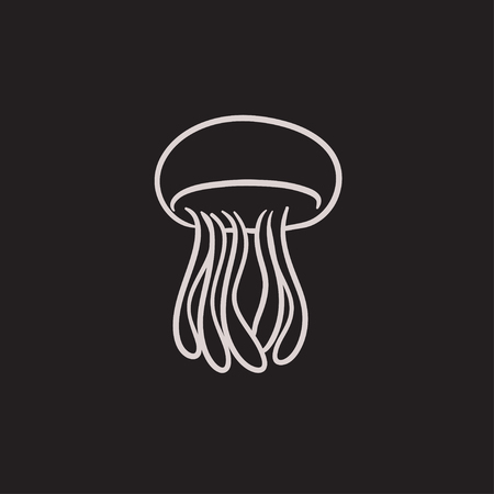 stingers: Jellyfish vector sketch icon isolated on background. Hand drawn Jellyfish icon. Jellyfish sketch icon for infographic, website or app. Illustration