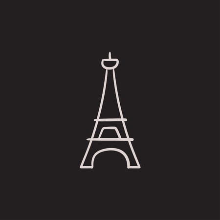 french culture: Eiffel Tower vector sketch icon isolated on background. Hand drawn Eiffel Tower icon. Eiffel Tower sketch icon for infographic, website or app.