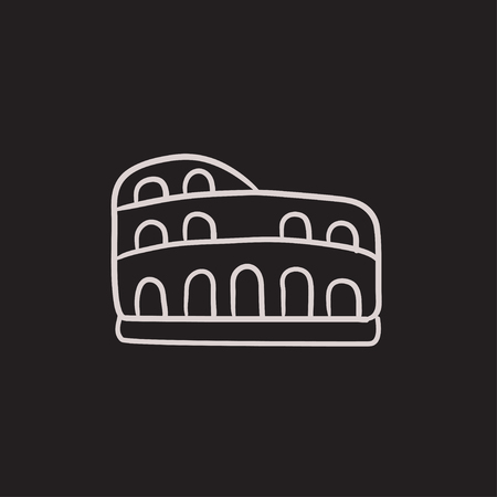 amphitheater: Coliseum vector sketch icon isolated on background. Hand drawn Coliseum icon. Coliseum sketch icon for infographic, website or app.
