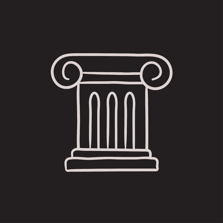 column icon: Ancient column vector sketch icon isolated on background. Hand drawn Ancient column icon. Ancient column sketch icon for infographic, website or app. Illustration