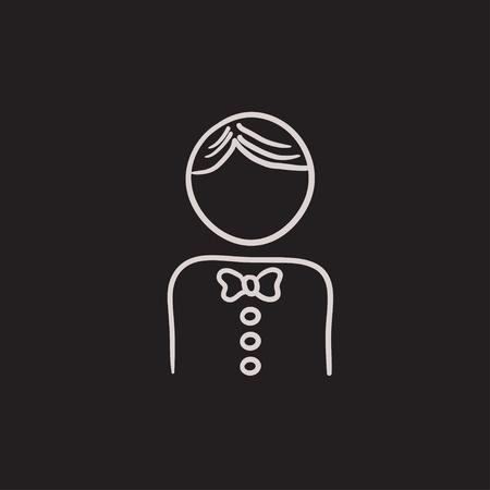 Kellner Vektor Skizzensymbol auf Hintergrund isoliert. Hand gezeichnete Kellnerikone. Kellner Skizzensymbol für Infografik, Website oder App.