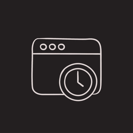 Browser window with clock sign vector sketch icon isolated on background. Hand drawn Browser window with clock sign icon. Browser window with clock sign sketch icon for infographic, website or app. Ilustração