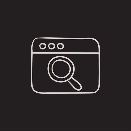 website window: Browser window with magnifying glass vector sketch icon isolated on background. Hand drawn Browser window with magnifying glass icon. Browser window sketch icon for infographic, website or app.