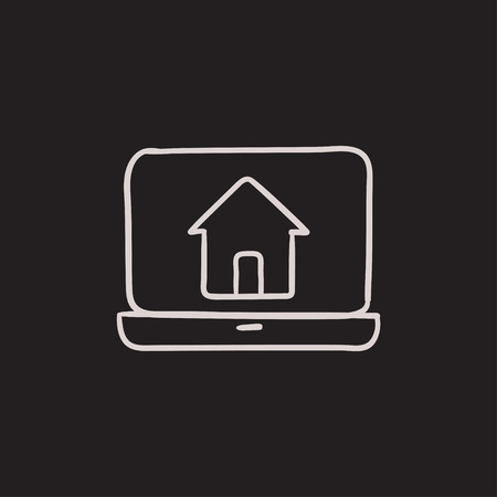 laptop home: Laptop with home on the screen vector sketch icon isolated on background. Hand drawn Laptop with home on the screen icon. Laptop with home on the screen sketch icon for infographic, website or app.