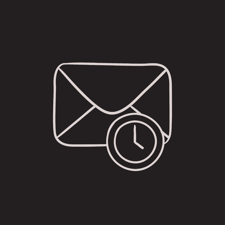 Envelope mail with clock vector sketch icon isolated on background. Hand drawn Envelope mail with clock icon. Envelope mail with clock sketch icon for infographic, website or app. Ilustração