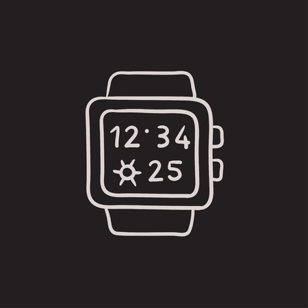 Smartwatch vector sketch icon isolated on background. Hand drawn Smartwatch icon. Smartwatch sketch icon for infographic, website or app. Reklamní fotografie - 63731244