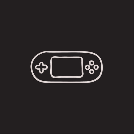 Game console gadget vector sketch icon isolated on background. Hand drawn Game console gadget icon. Game console gadget sketch icon for infographic, website or app. 矢量图像