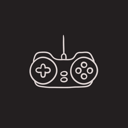 Joystick vector sketch icon isolated on background. Hand drawn Joystick icon. Joystick sketch icon for infographic, website or app. Illustration