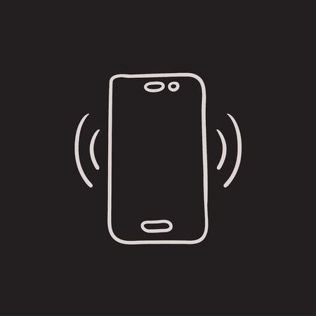 vibrating: Vibrating phone vector sketch icon isolated on background. Hand drawn Vibrating phone icon. Vibrating phone sketch icon for infographic, website or app.