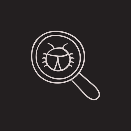 Bug under magnifying glass vector sketch icon isolated on background. Hand drawn Bug under magnifying glass icon. Bug under magnifying glass sketch icon for infographic, website or app.