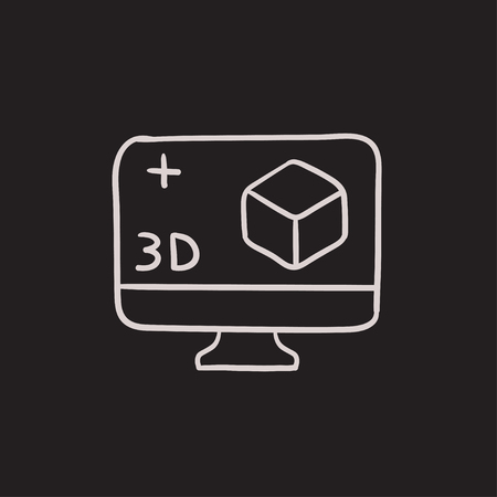 3 D ボックス ベクター スケッチ アイコンの背景に分離されたコンピューターのモニター。手描き 3 D ボックスのアイコンとコンピューター モニター