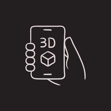 holding smart phone: Smartphone with three D box vector sketch icon isolated on background. Hand drawn Smartphone with three D box icon. Smartphone with three D box sketch icon for infographic, website or app. Illustration