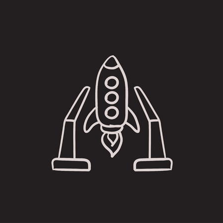 takeoff: Space shuttle on take-off area vector sketch icon isolated on background. Hand drawn Space shuttle on take-off area icon. Space shuttle on take-off area sketch icon for infographic, website or app.